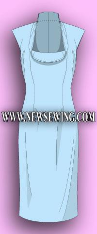 Выкройка платья для женщин с обхватом груди от 100 см до 122 см. (без рукава). Готовая выкройка.